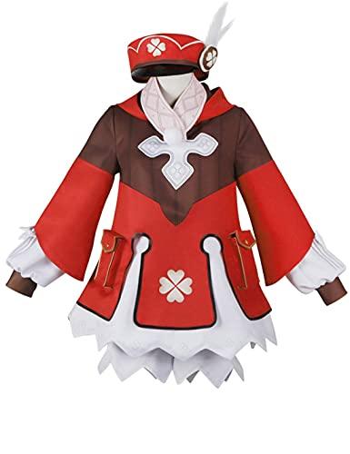 HUANDE Lolita Juego de Vestidos Genshin Impact Klee Cosplay Disfraz Lolita Vestido Cheongsam Conjunto Completo de Halloween Bonito Regalo de Cumpleaños para Mujeres, rosso, XL