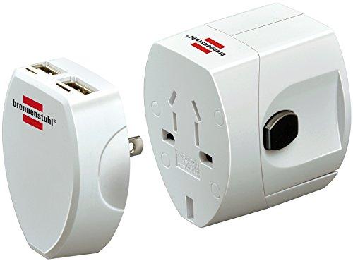 Brennenstuhl Weltreisestecker + USB-Ladegerät, Steckdosenadapter mit 2-fach USB 2.0 (Für: Euro, USA, Australien, England) weiß