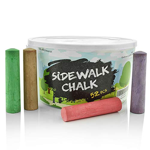 Sidewalk Chalk Set – Pack of 52 Multi-Color Jumbo Street Chalks – 10 Bright & Cheerful Colors – Nontoxic, Washable Tapered Chalks in a Reusable Plastic Container - 1 x 4 Inches
