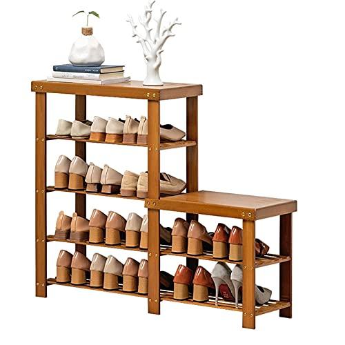 Banco de Zapatos de bambú Tallero de Zapatos, 2/4 Niveles Zapato Estante de Almacenamiento Organizador Soporte Soporte Estantería de Zapatos Mueble Banco para Pasillo de Entrada