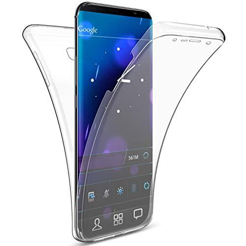 Uposao Kompatibel mit Galaxy J4 2018 Handytasche 360° Full Body Case Cover Vorne und Hinten Silikon Tasche Komplettschutz Rundumschutz Beidseitiger Hülle Durchsichtig TPU Bumper Handyhülle,Kristall
