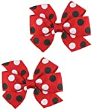 Small Baby Hair Clips,Toddler Hair Clips-2ct 3' Hair Bows for Girls-Grosgrain Ribbon No Slip Grip Metal Barrettes for Girls Teens Toddlers Kids Women,Baby Girl Hair Accessories (Red and Black)