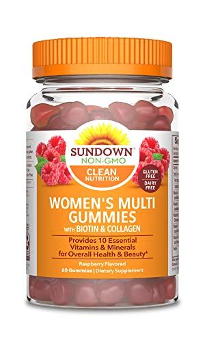 Sundown Women's Multivitamin with Biotin, Collagen, Vitamins A, C, D, E Supports Immune Health* 60 Gummies (Pack of 3) Non-GMOˆ, Free of Gluten, Dairy, Artificial Flavors