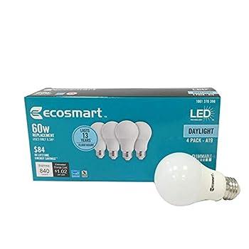 4 Pack  Ecosmart A19 LED 60 Watt Replacement  8.5W  Daylight White  5000K  840 Lumens Energy Star Rated Medium Base E26 Dimmable Regular Shaped Light Bulbs