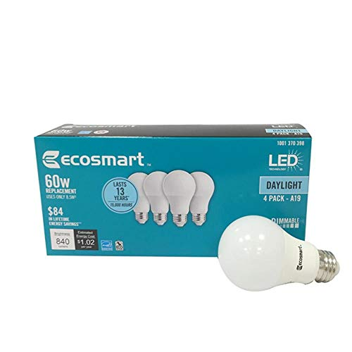 (4 Pack) Ecosmart A19 LED 60 Watt Replacement (8.5W) Daylight White (5000K) 840 Lumens Energy Star Rated Medium Base E26 Dimmable Regular Shaped Light Bulbs