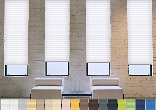 SUNWORLD Verdunklungs- Plissee nach Maß (Blackout, 100% Abdunkelnd), deutsche Wertarbeit, alle Größen in vielen Farben verfügbar (Farbe: Weiß, Höhe: 20-80cm, Breite: 51-60cm)