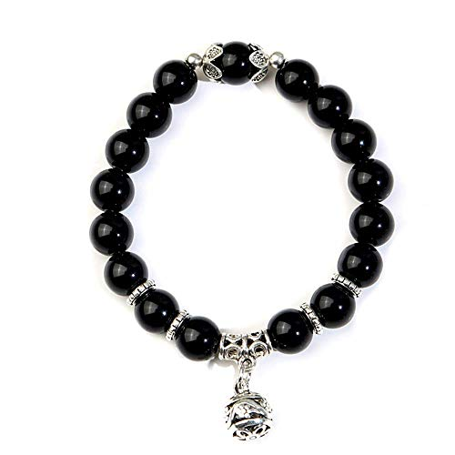 Opal Beads Bracelet Birthstone Beads Natural Precious Stones Beaded Bracelet for Women Girls, Black Adorable Practical Design and Durable
