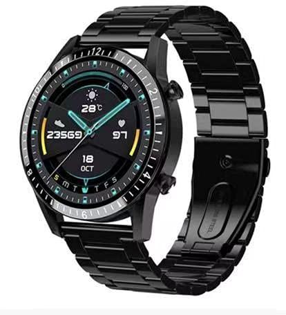 LYLULL Llamada de negocios reloj inteligente frecuencia cardíaca presión arterial oxígeno control remoto cámara natación impermeable Bluetooth (tres acero negro)