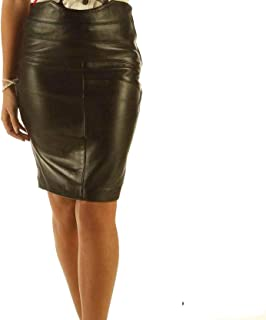 Full Grain Leather Pencil Skirt with Pattern ELLI