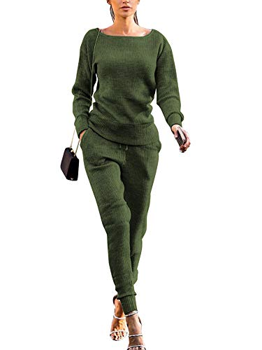 Womens Fall Rib-Knit Long Sleeve Pullover Sweater Top Drawstring Long Pants Set Two Piece Outfits Tracksuit Green