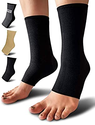 SB SOX Compression Ankle Brace (Pair) – Great Ankle Support That Stays in Place – For Sprained Ankle and Achilles Tendon Support – Perfect Ankle Sleeve for Sports, Any Use (Solid - Black, Large)