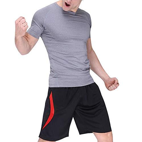 DR. MA-GOTEK Herren Sportshorts Sportshorts mit Reißverschlusstaschen, schnell trocknend, dehnbar für Sport, Training, Workout - Rot - XXX-Large