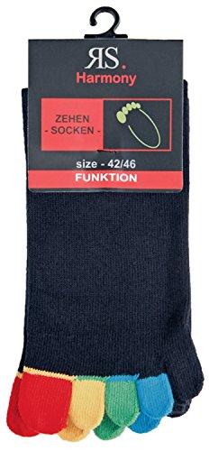ch-home-design 2 Paar zehensocken schwarz zehenstrumpf ''Bunte Zehen'' baumwolle RS-55510 (36-41)