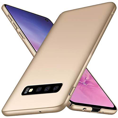Preisvergleich Produktbild Conie CP32623 Classic Plain Kompatibel mit Samsung Galaxy S10,  Hülle Basic Ultradünn Slim Cover Handyhüllen PC Bumper Schutzhülle für Galaxy S10 Case Matt Gold
