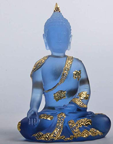 Meditating Buddha Statue Ornament Resin with Hyaline Blue Finish