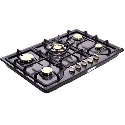 Deli-kit DK257B-C01 30' LPG/NG Gas Cooktop gas hob stovetop 5 burners Dual Fuel 5 Sealed Burners Built-In gas hob Stainless Steel 110V AC pulse ignition gas Cooker gas stove with cast iron support