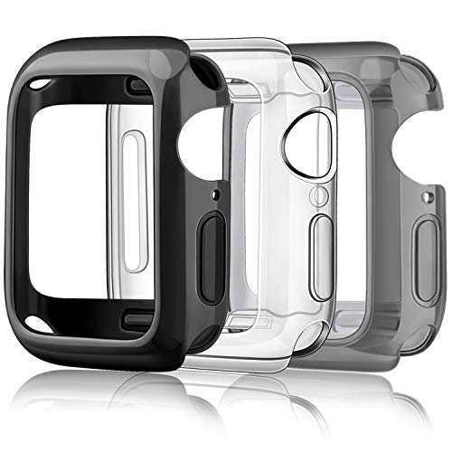 Amzpas 3 Pezzi Cover per Apple Watch Custodia Series 3/ Series 2 38mm, Protezione Completa a 360° Custodia Rigida PC per Apple Watch Series 2/ Series 3 (38mm, Trasparente/Nero/Nero Trasparente)