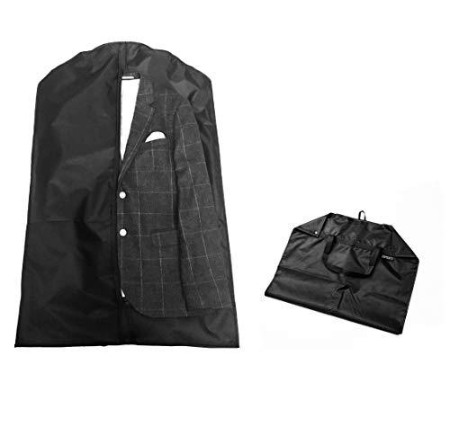 DomSuits Premium kostymöverdrag, andas och passar för resor med handtag, ca 100 x 63 cm, vikbar - svart - klädöverdrag/plaggpåse/klädväskor - perfekt för klädförvaring