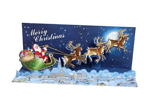 Pop Up 3D Sound Weihnachten Panorama Karte PopShot Rentier Schlitten 23x10 cm