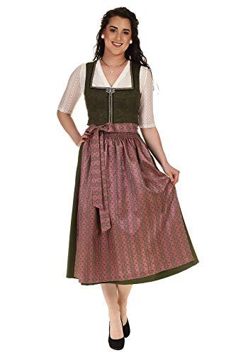 orbis Textil Countryline Damen Dirndl festlich Trachtendirndl mit Brosche 80cm 41341/8 Stretch Rocklänge 80cm Oliv Gr.40