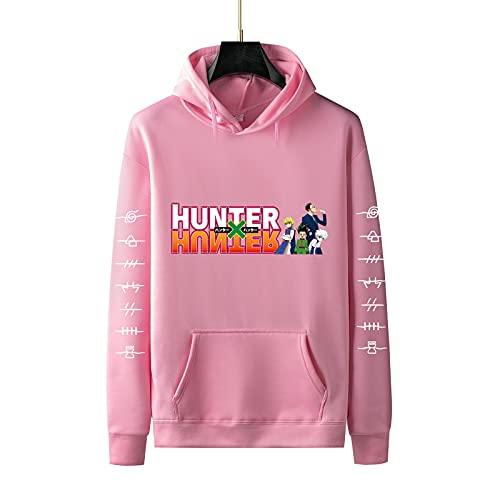 MORGENLICHT Hunter X Hunter sudadera con capucha con collar 2 piezas Gon Killua colgante ajustable joyería sudaderas - rosa - XXL