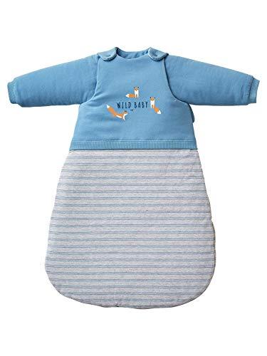 Vertbaudet Baby Fox - Saco de dormir con mangas desmontables (2 materiales), color azul y multicolor