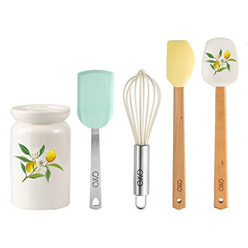 Cook With Color 5 Piece MINI Cooking Utensil Set with Holder, Silicone Kitchen Tools and Gadgets with Wooden Handles, Whisk, Spoonula, Spatula, Turner & Holder (Lemon Collection)