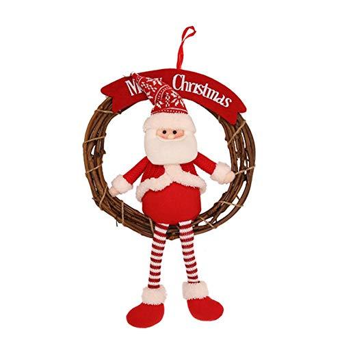 perfecti Weihnachten Tür Deko Künstliche Rattan Türkranz Aufhängen Weihnachtsmann Türkranz Schneemann Elk Christbaumanhänger Zierschmuck, 30 x 45 cm