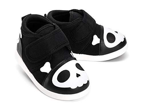 ikiki Skull Squeaky Shoes for Toddlers w/Adjustable Squeaker, Black Girl or Boy Shoes (Size 4, Captain Zuga)
