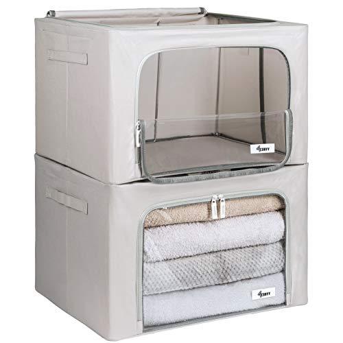 Starre faltbare Kleideraufbewahrung 4CONVY - Aufbewahrungstasche für Bettdecken/Kissen/Kleidungen/Bettwäsche mit Metallrahmen und Fenster - stapelbar - Sachen nicht zerknittert - 2 Stück (grau, L)