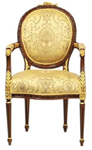 Casa Padrino Barock Esszimmer Stuhl mit Armlehnen Ludwig XV Gold Muster/Mahagoni Braun - Möbel