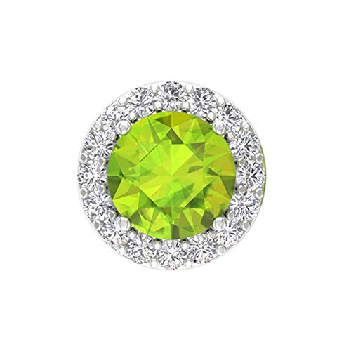 Rosec Jewels 10 quilates oro rosa redonda round-brilliant-shape H-I Green Diamond Peridot