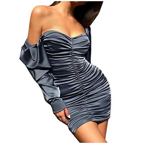 Fenverk Bekleidung Kleid Damen Langarm Vintage Elegante Kleider Aus Cocktailkleid Partykleider Minikleid Schulterfrei Abendkleid Bleistiftkleid Bodycon Eng Partykleid Freizeitkleid(C Grau,XL)