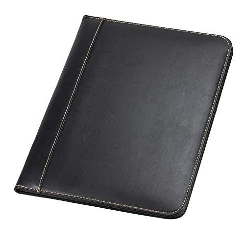 Samsill 71710 Contrast Stitch Leather Padfolio – Lightweight & Stylish Business Portfolio for Men & Women – Resume Portfolio, 8.5 x 11 Writing Pad, Black