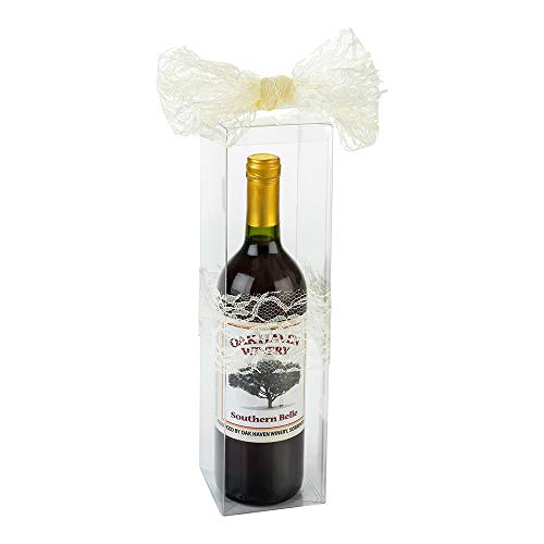 Vino Vision 3.4 x 12.6 Inch Wine Gift Boxes, 100 Disposable Wine Boxes For Gifts – Pop and Lock Bottom, For Birthday Parties, Weddings, or Anniversaries, Clear Plastic Bottle Boxes – Restaurantware