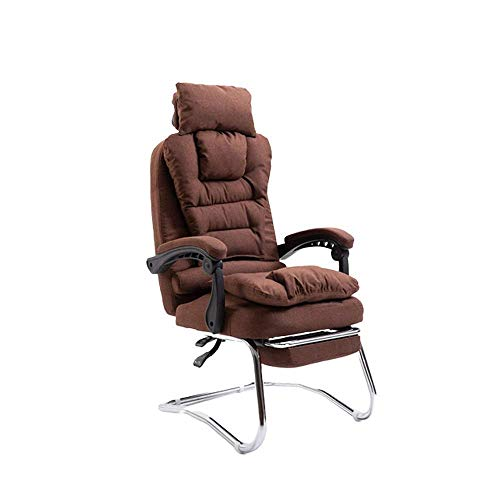 N/Z Home Equipment Computer Chair Household Fabric Bow Chair Boss Chair Headrest Removable Office Chair Reclining Back Chair With Armrests and Pull Out Footstool (Color : Brown)