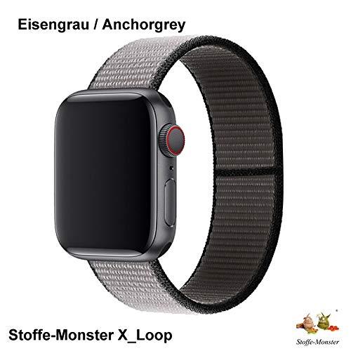 Stoffe-Monster X_Loop Watch Armband Sport eisengrau anchorgrey 38mm / 40mm