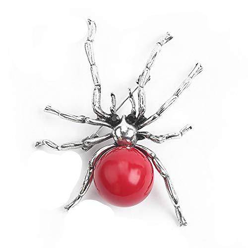 Qpodgq Broche Imitación Roja Perla Araña Broche Personalidad Insecto Pin De Solapa Sombrero Ropa Bufanda Hebilla Accesorios Masculinos