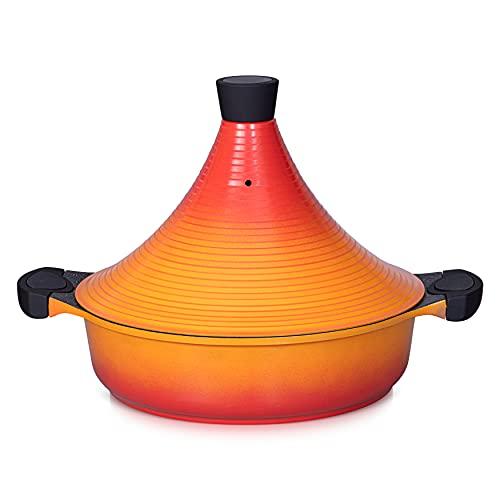 Tajine marroquí con tapa de aluminio antiadherente | 28cm | Apto para lavavajillas de inducción (orange)