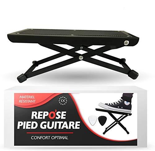 O³ Reposapies Guitarra – Pie Para Guitarra De Metal De 5 Alturas Con 2 Púas – Reposa Pies...