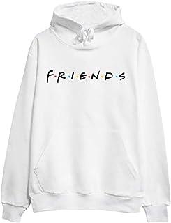Felpa Amicizia Donna Simpatica T Shirt Friends Serie TV Uomo Maglia Uguale Famiglia per Amiche Coppia Gemello Fidanzati Felpe con Cappuccio e Tascone Tinta Unita Blusa Camicetta Tunica Top Streetwear