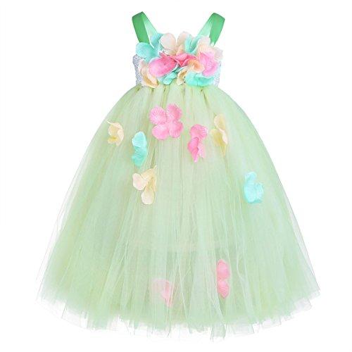 Freebily Vestidos Primavera Niñas Infántil Vestido Princesa de Flores Pétalos Tul Elegante Verano Disfraces Niña Fiesta Feria Carnaval Comunión para 2-12 Años Verde 8-9 Años