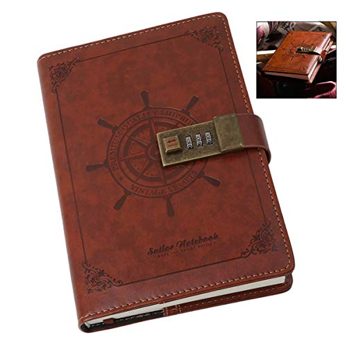 iwobi Diario Contraseña Cuaderno, Cuaderno del Diario con Bloqueo de contraseña, Vintage PU Cuero Diario