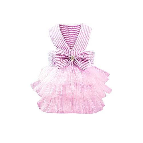 wanshop ® Elegante Vestito Generic Cucciolo Cane Bow Tie Arco Sveglio Stripe Pet Principessa Torta Gonna Maglietta Cosplay Costumi (XS, Rosa)