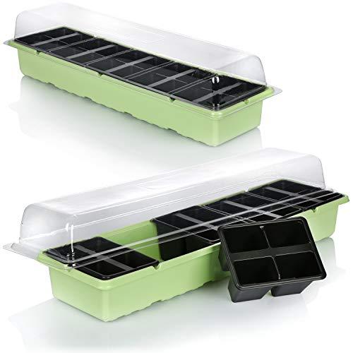 com-four® 2X Anzuchtkasten zur Aufzucht von insgesamt 40 Sämlingen - Anzucht-Set für den Balkon, mit Wanne, Deckel und 40 Pflanztöpfen (2 Stück - Pflanzkasten 54x14.5cm)