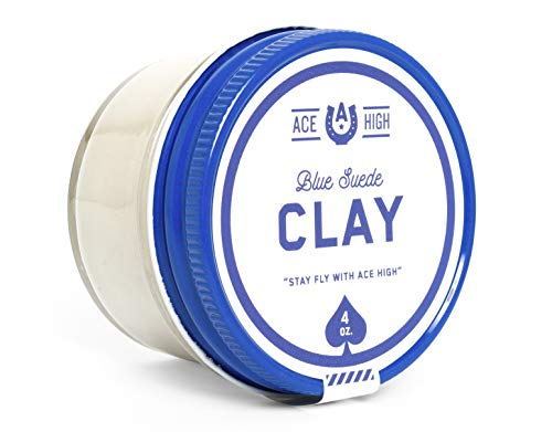 Ace High Blue Suede Hair Clay, Strong Hold, Satin to Matte Finish, Adds Texture and Thickness, 4oz