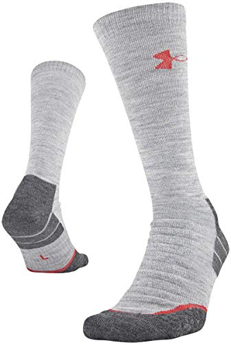 Under Armour All Season Wool Boot Socks, 1-pair, True Gray Heather/Rocket Red, Shoe Size: Mens 4-8, Womens 6-9