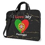 Ich Liebe Meine Flagge von Portugal Herz Laptop-Tasche Umhängetasche Computer-Tasche Aktentasche Tasche geneigte Umhängetasche