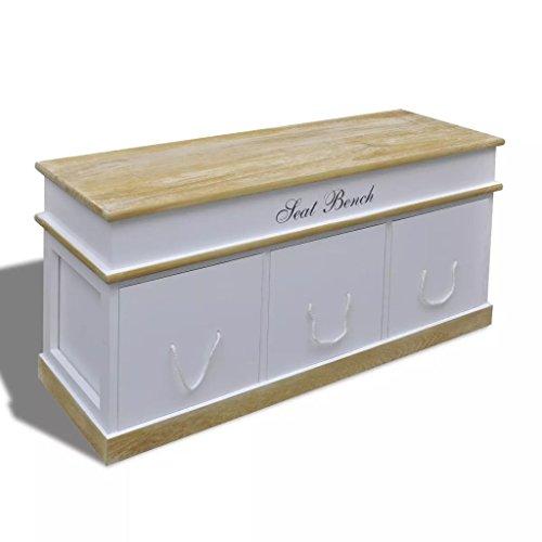 Tidyard Banc Coffre de Rangement | Banc de Couloir en Bois avec 3 Tiroirs pour Jardin, Chambre ou Couloir 100 x 35 x 45 cm Blanc