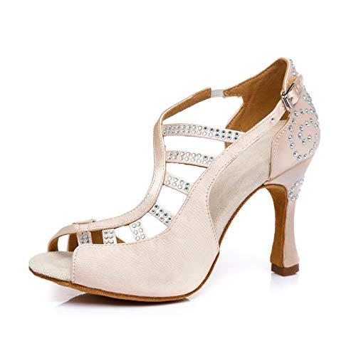 Hanfike Zapatos para mujer boda invitado Tacones con cristales, color carne, 40...